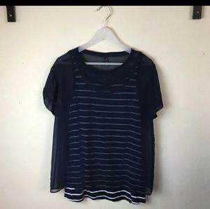 NYDJ Blue sheer blouse size medium